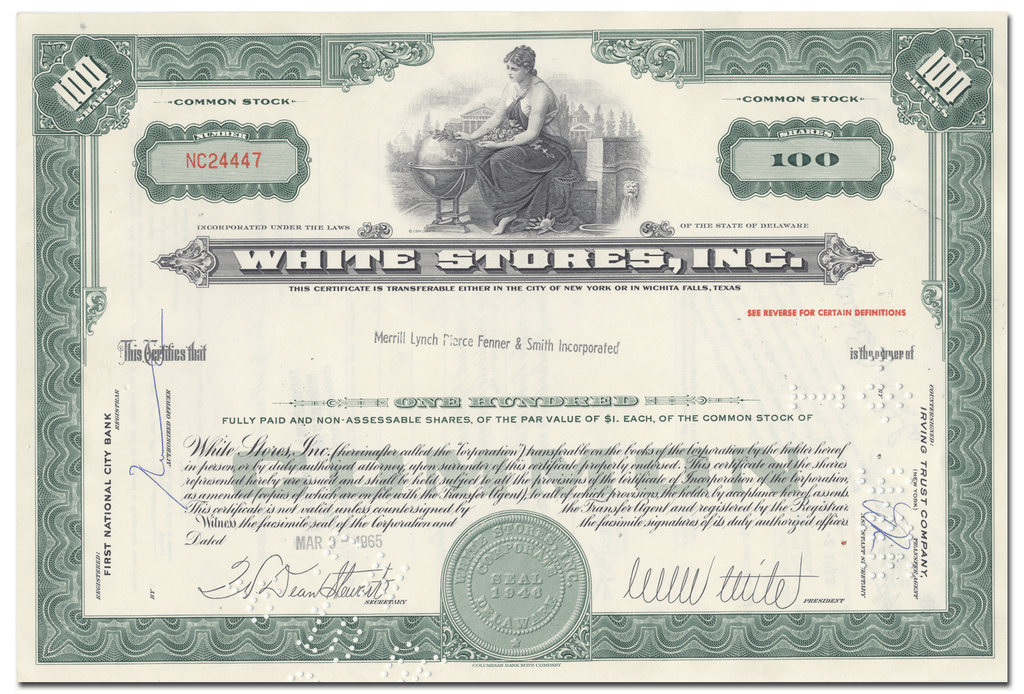 White Stores, Inc. Stock Certificate