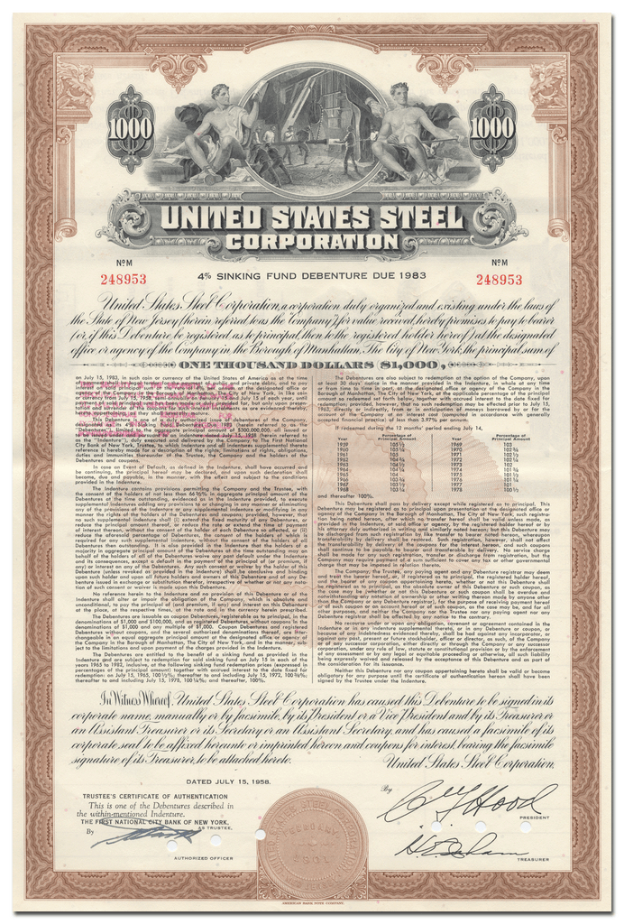 United States Steel Corporation Bond Certificate