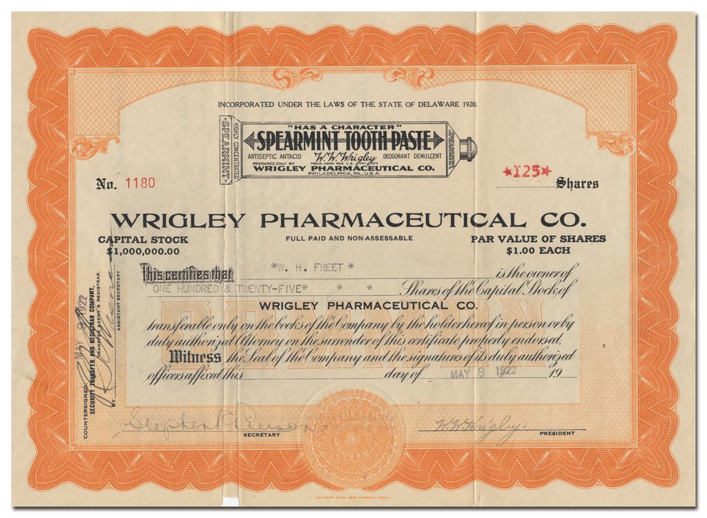 Wrigley Pharmaceutical Co. Stock Certificate