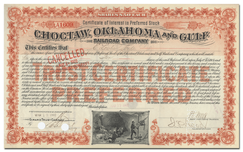 Choctaw, Oklahoma and Gulf Railroad Company Stock Certificate