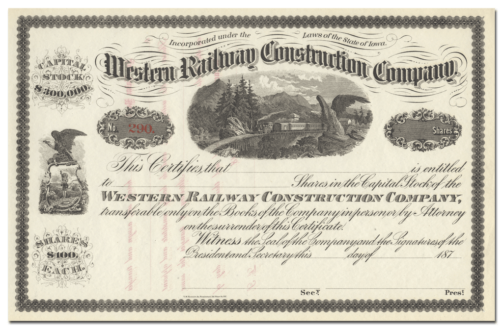 Western Railway Construction Company Stock Certificate