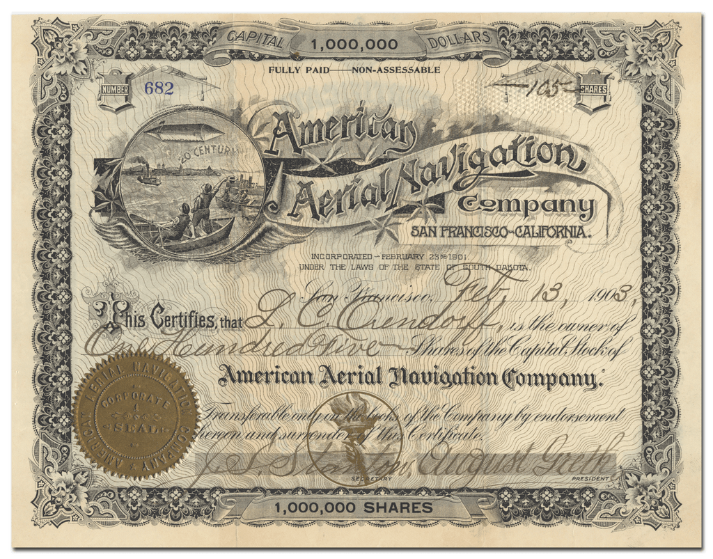 American Aerial Navigation Company Stock Certificate