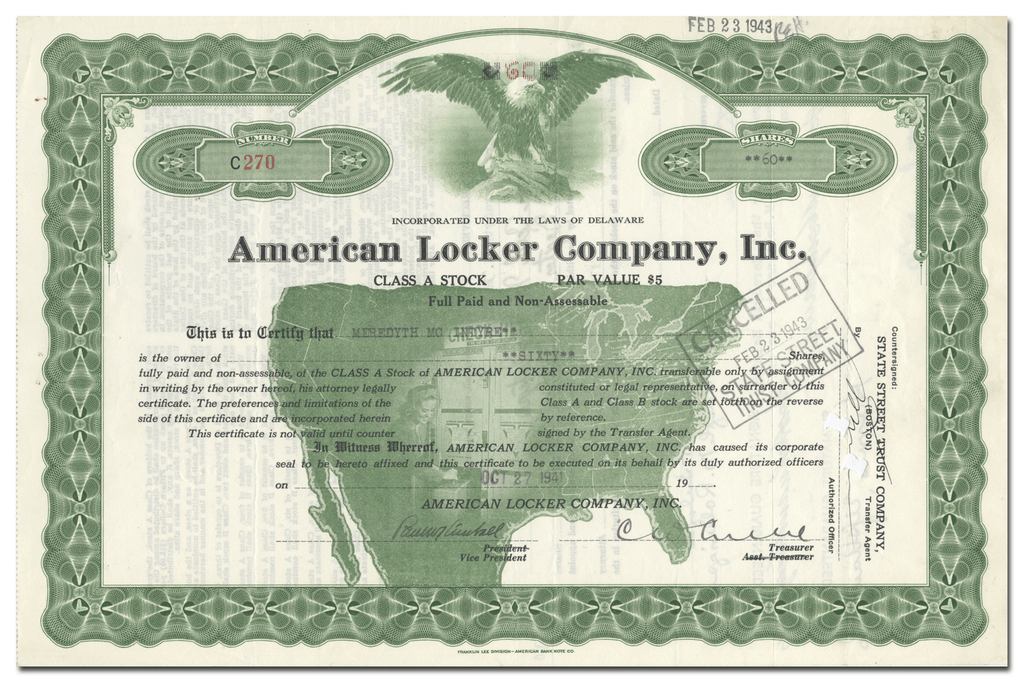 American Locker Company, Inc. Stock Certificate