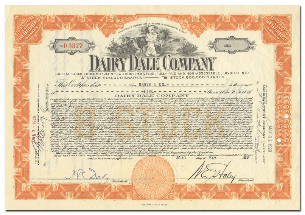 Dairy Dale Company Stock Certificate