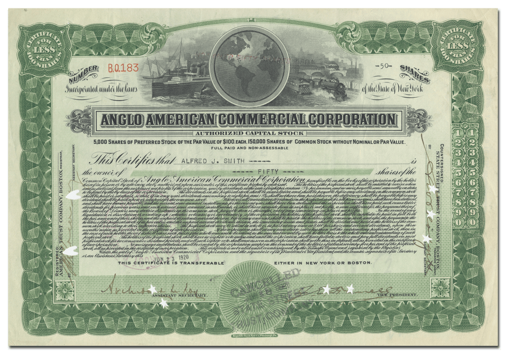 Anglo American Commercial Corporation Stock Certificate
