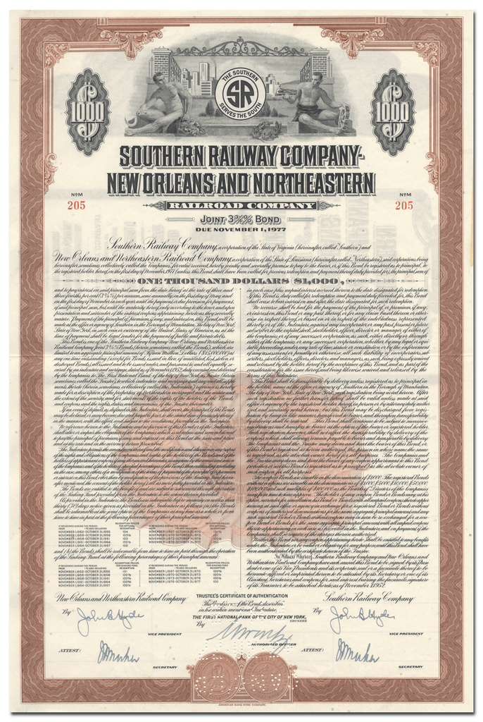 Southern Railway Company - New Orleans and Northeastern Railroad Company Bond Certificate