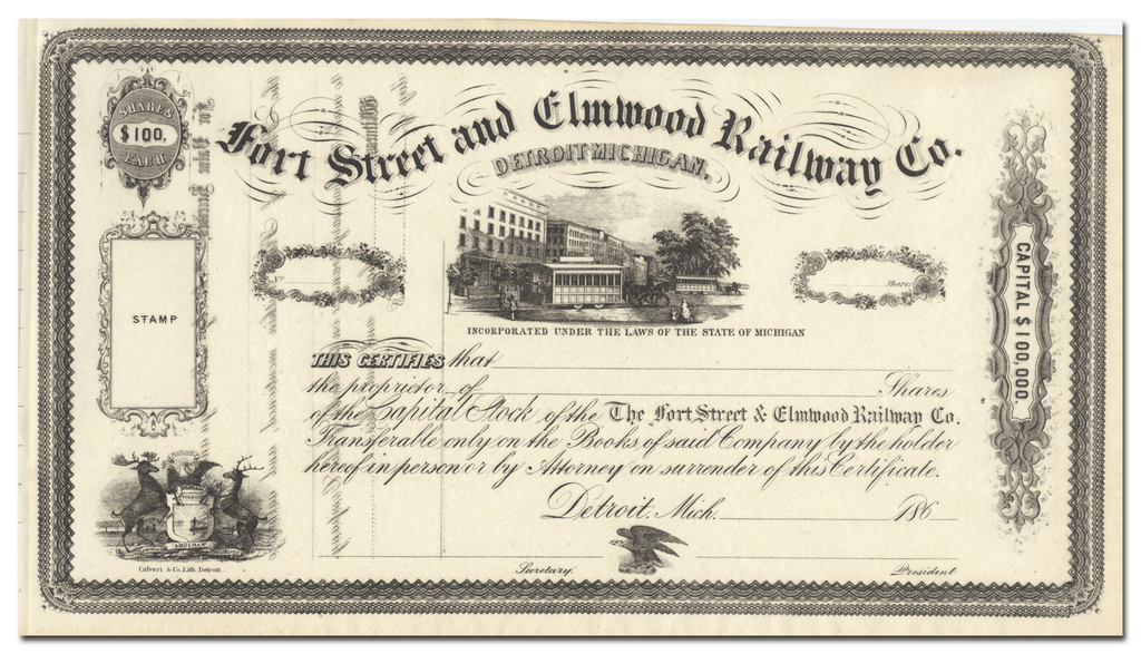Fort Street and Elmwood Railway Co. Stock Certificate
