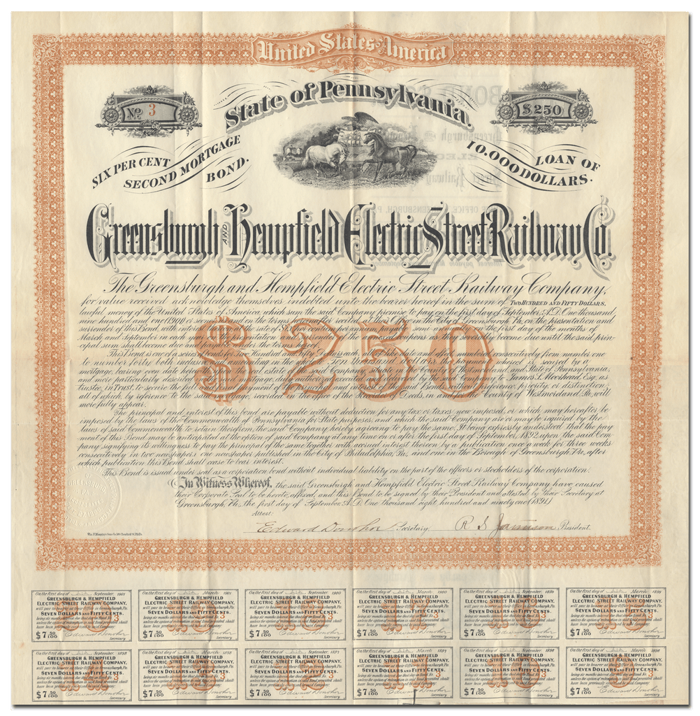 Greensburgh and Hempfield Electric Street Railway Company Bond Certificate