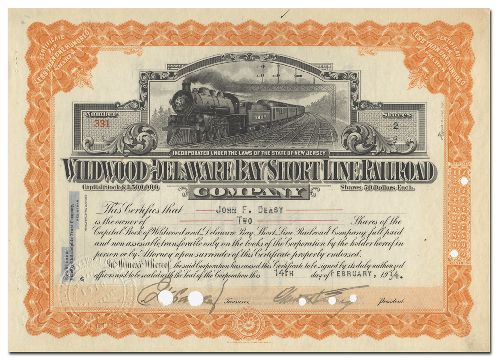 Wildwood & Delaware Bay Short Line Railroad Company Stock Certficate