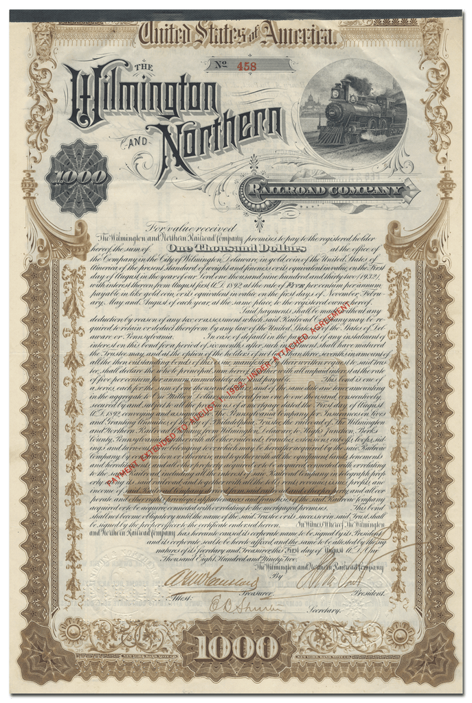 Wilmington and Northern Railroad Company Bond Certificate Signed by Henry A. duPont