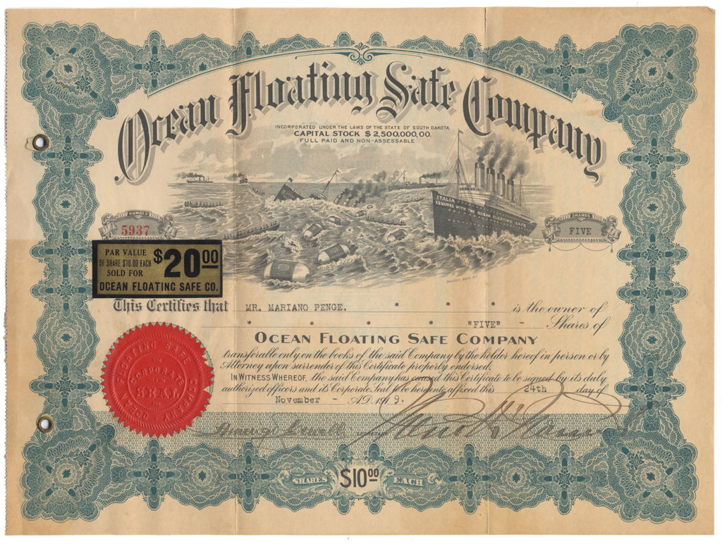 Ocean Floating Safe Company Stock Certificate