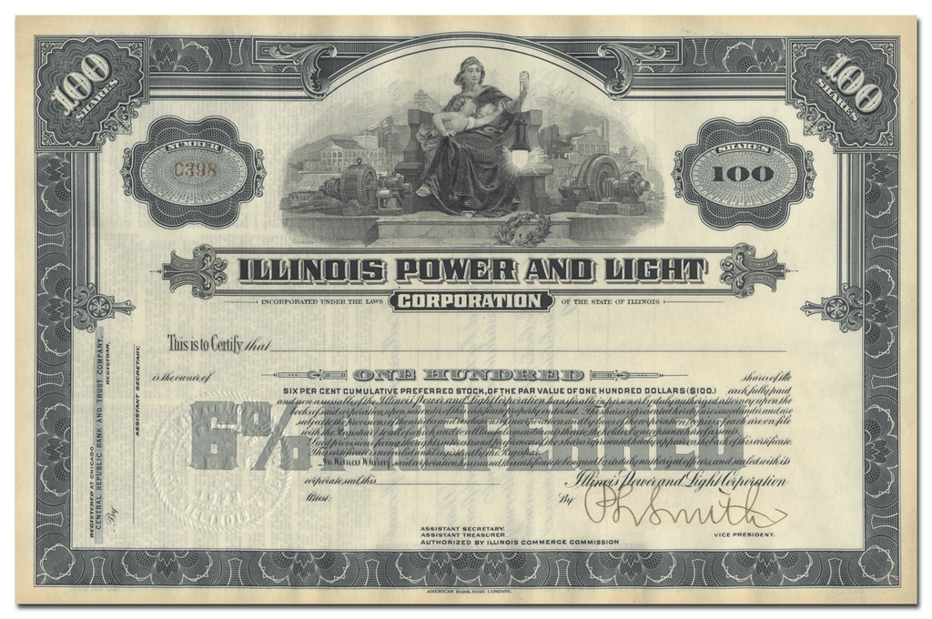 Illinois Power and Light Corporation Stock Certificate