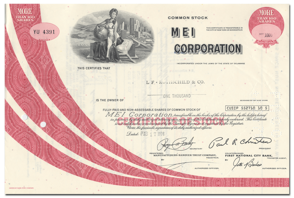 MEI Corporation Stock Certificate