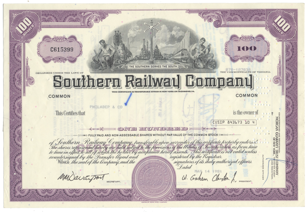 Southern Railway Company Stock Certificate