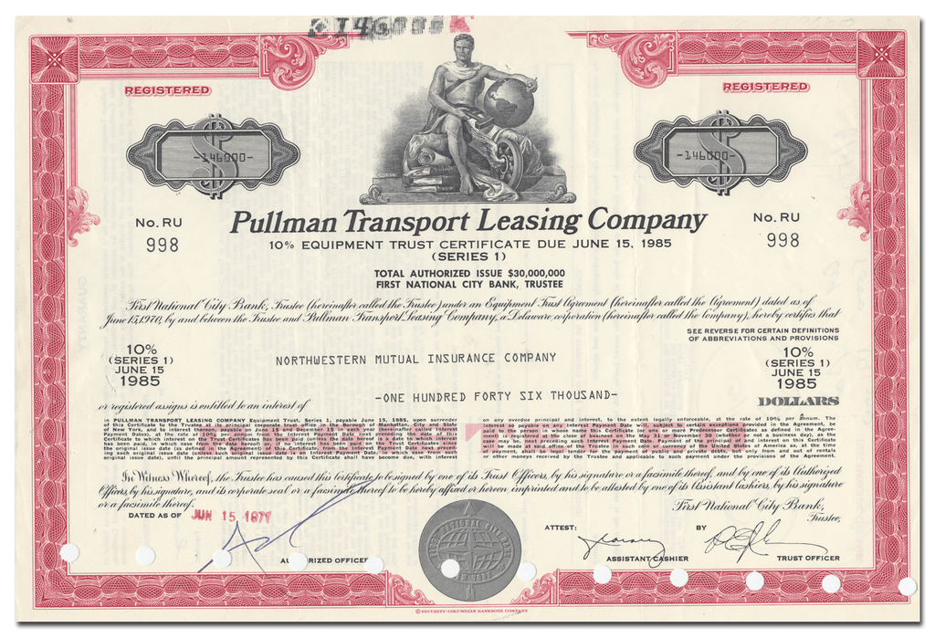 Pullman Transport Leasing Company Bond Certificate