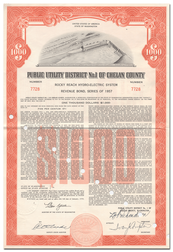 Public Utility District No. 1 of Chelan County Bond Certificate