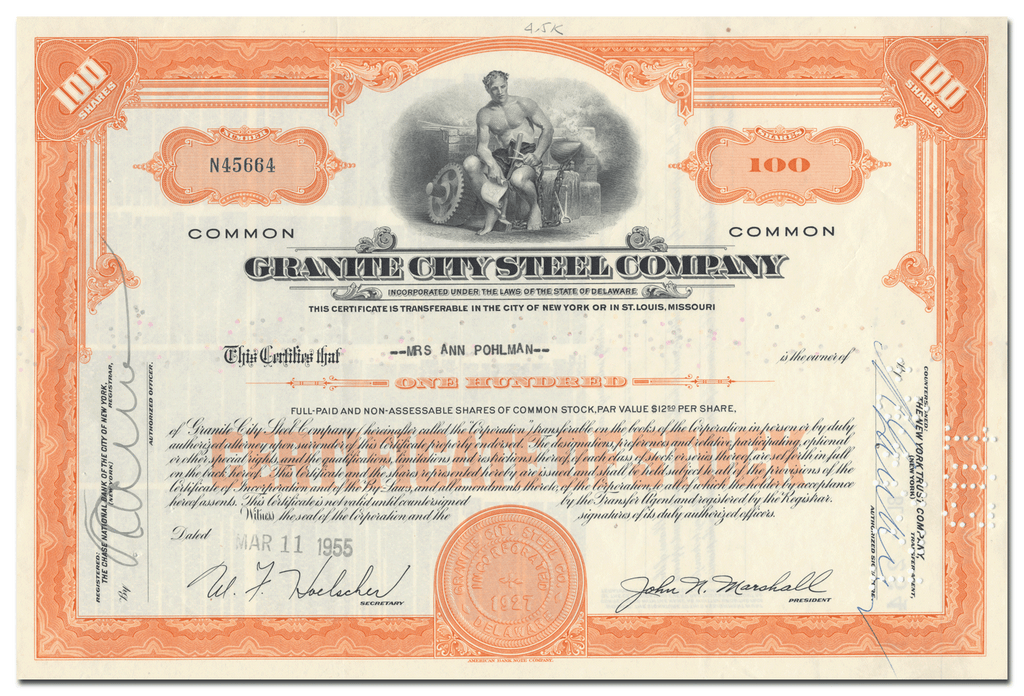 3206.png  1550 × 1057px  Granite City Steel Company Stock Certificate