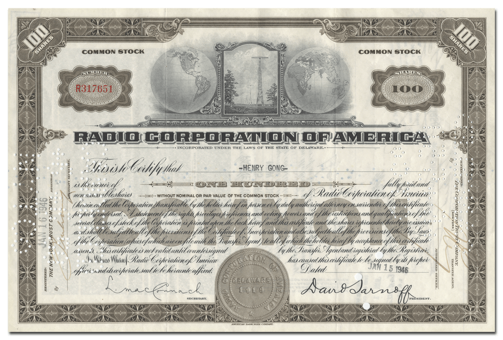 Radio Corporation of America Stock Certificate