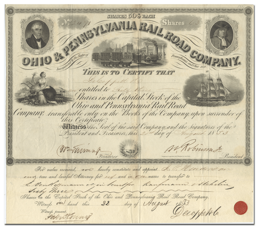 Ohio and Pennsylvania Rail Road Company Stock Certificate