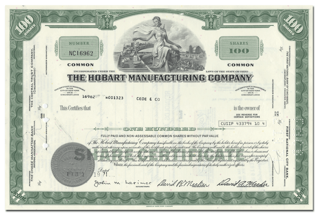 Hobart Manufacturing Company Stock Certificate