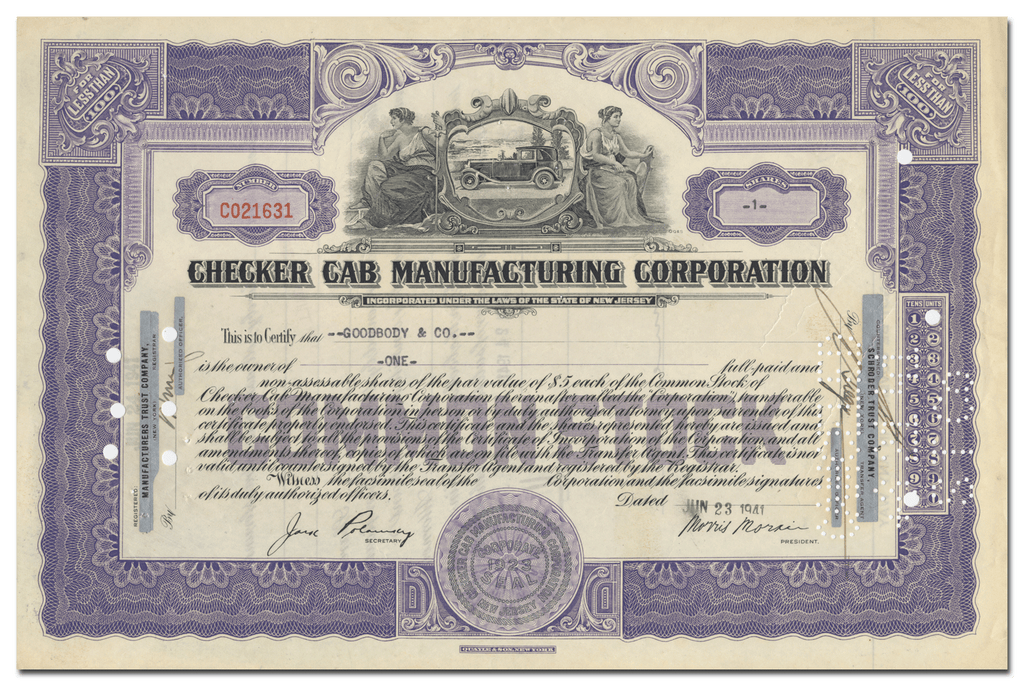 Checker Cab Manufacturing Corporation Stock Certificate