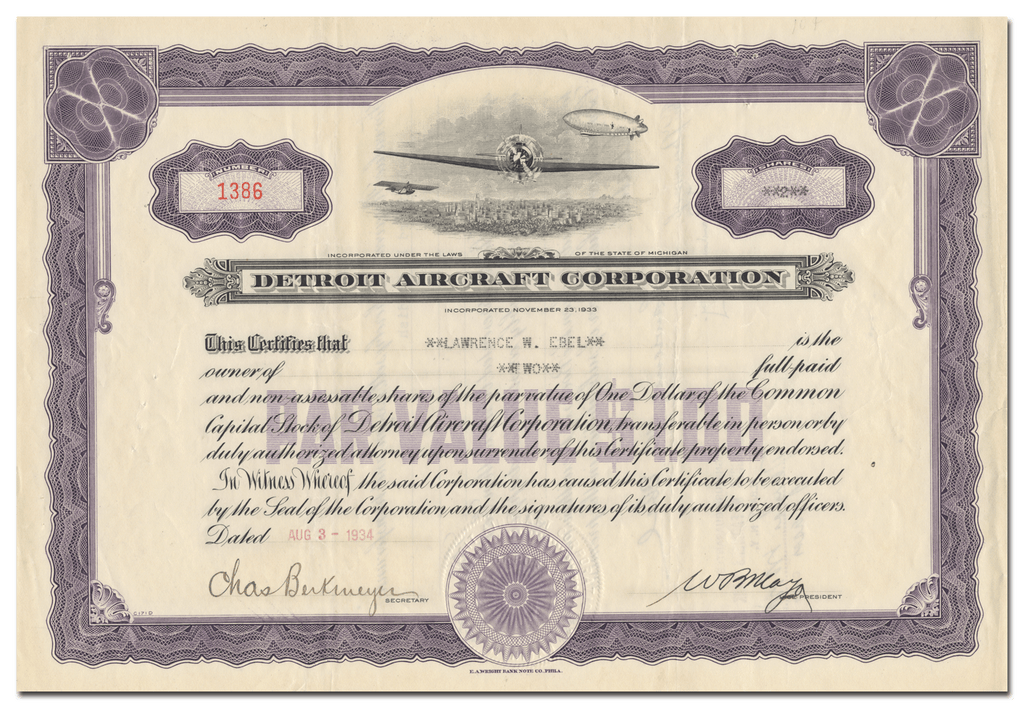 Detroit Aircraft Corporation Stock Certificate