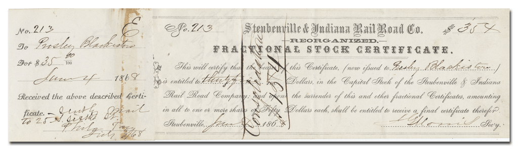 Steubenville & Indiana Rail Road Co. Stock Certificate