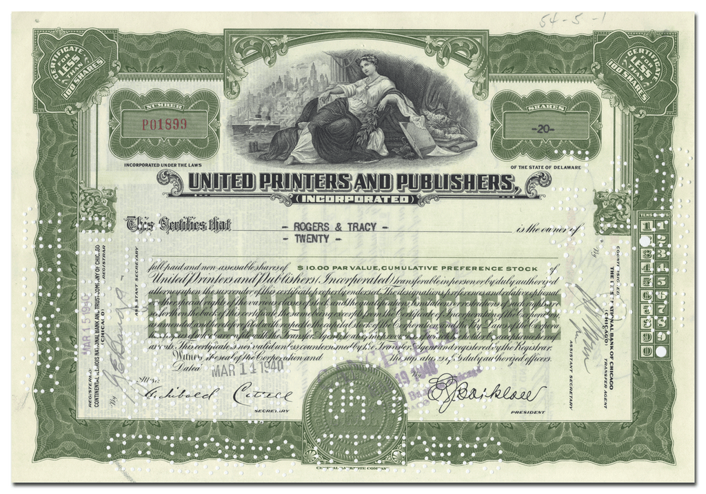 United Printers and Publishers Incorporated Stock Certificate