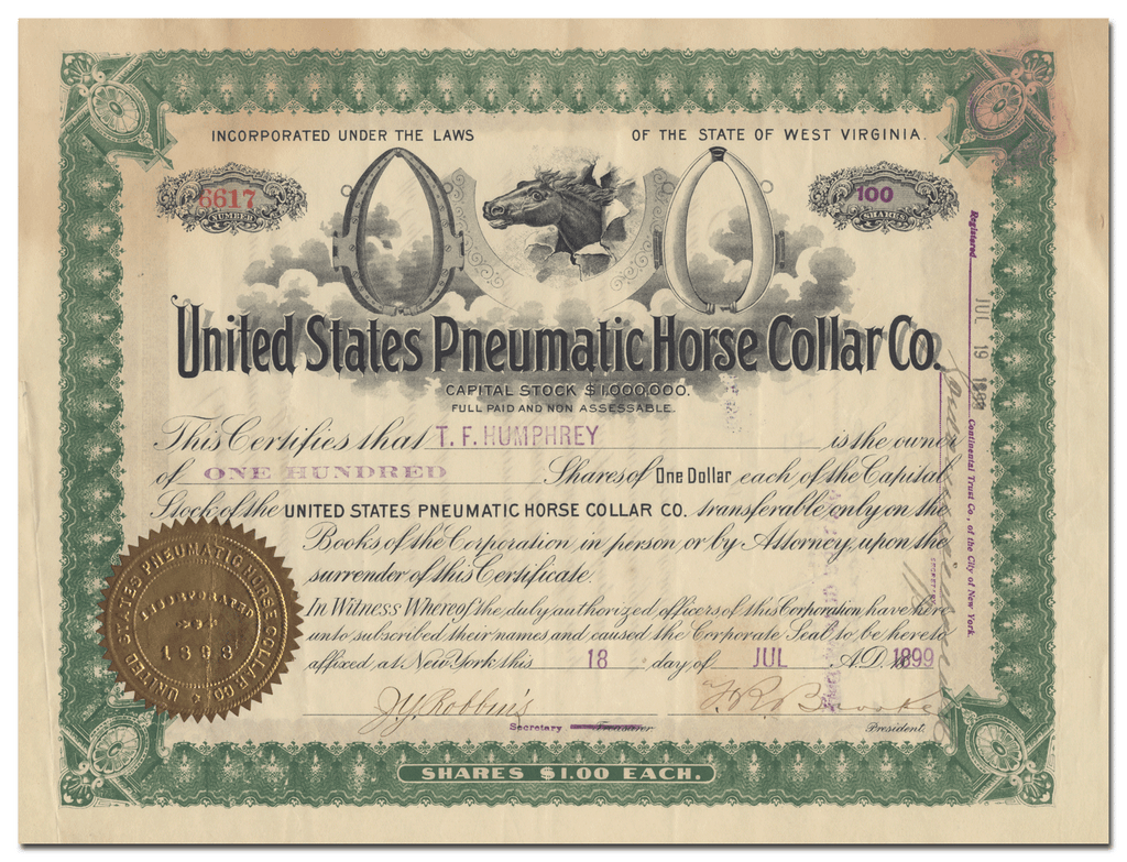 United States Pneumatic Horse Collar Co. Stock Certificate