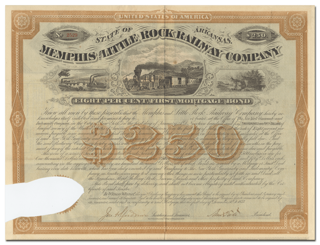 Memphis and Little Rock Railway Company Bond Certificate