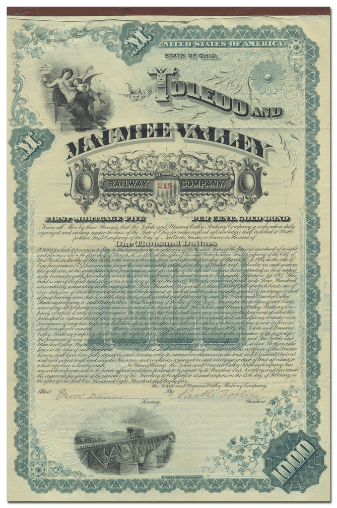 Toledo and Maumee Valley Railway Company Bond Certificate