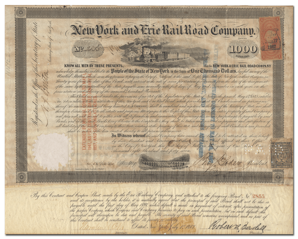Erie and New York Rail Road Company Bond Certificate Signed by Millard Fillmore