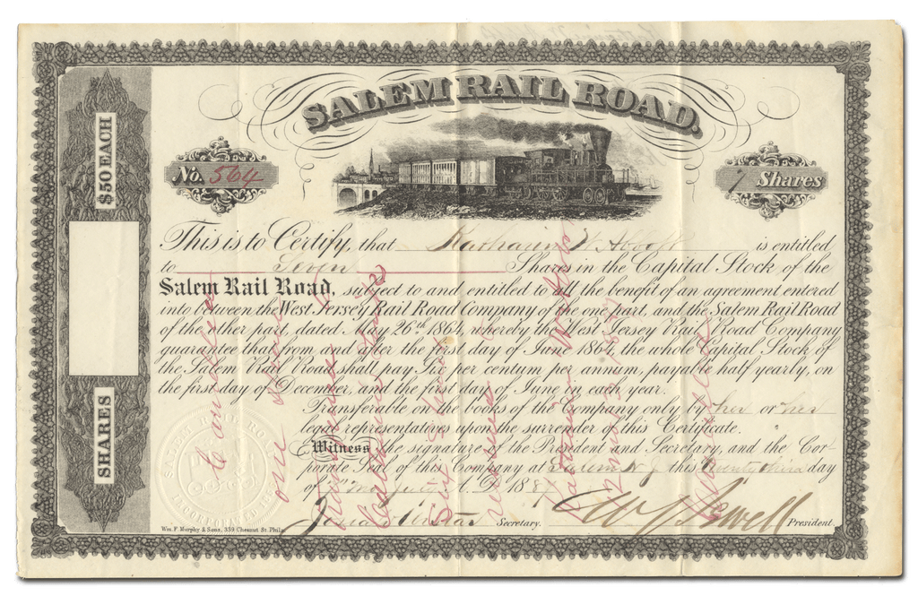 Salem Rail Road Stock Certificate