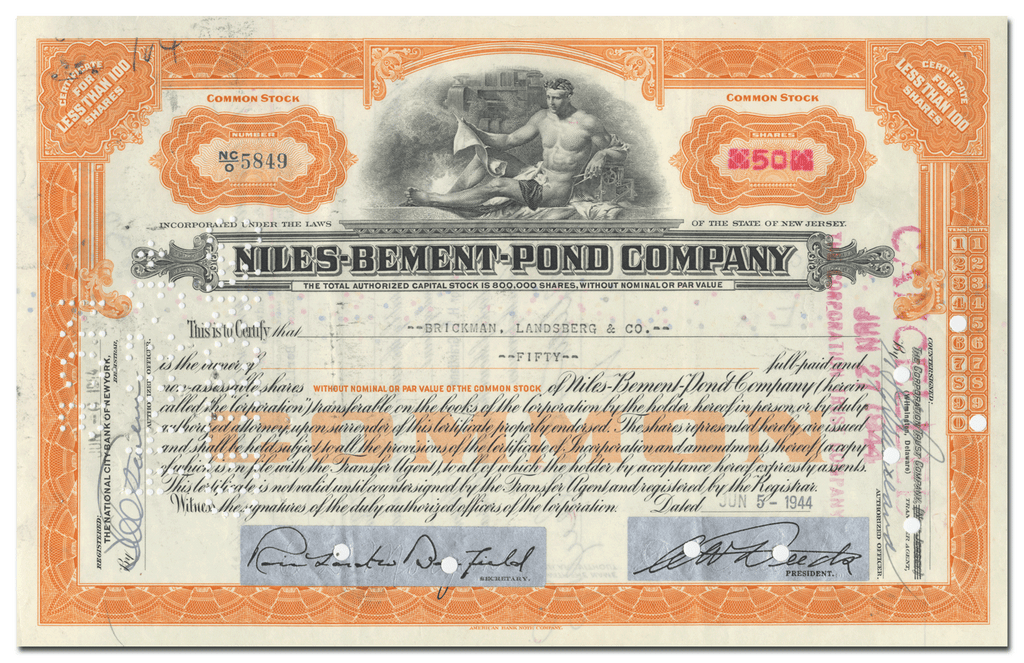 Niles - Bemont - Pond Company Stock Certificate