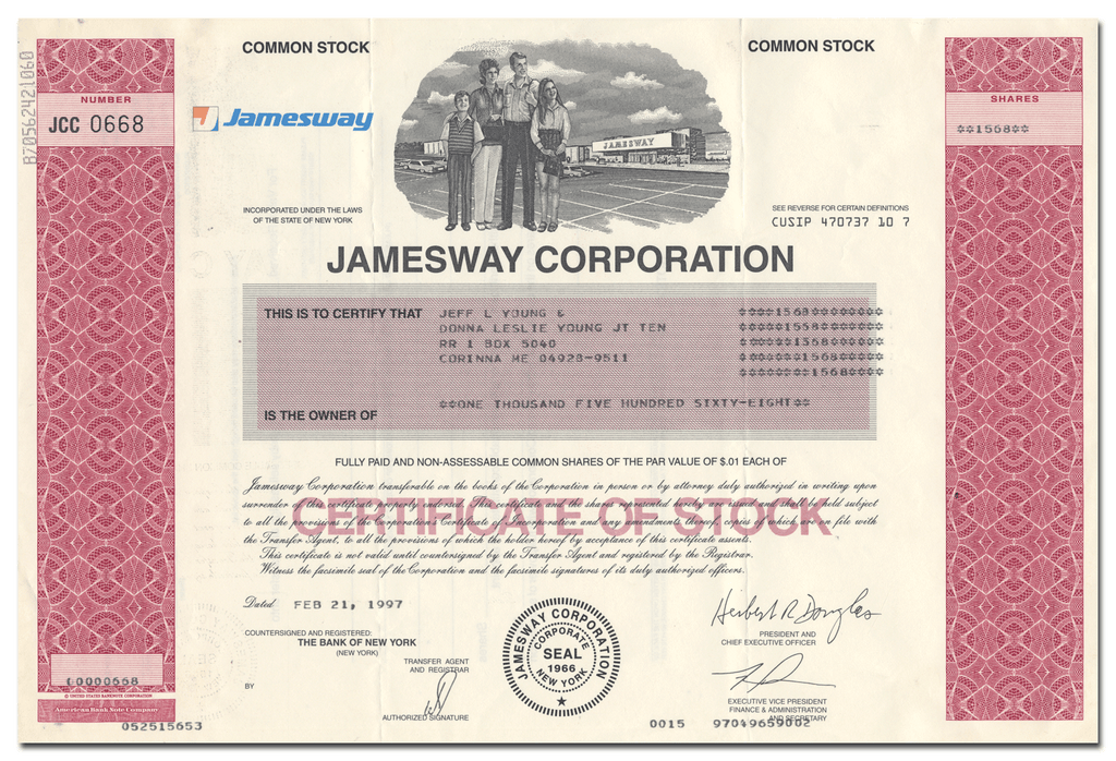 Jamesway Corporation Stock Certificate