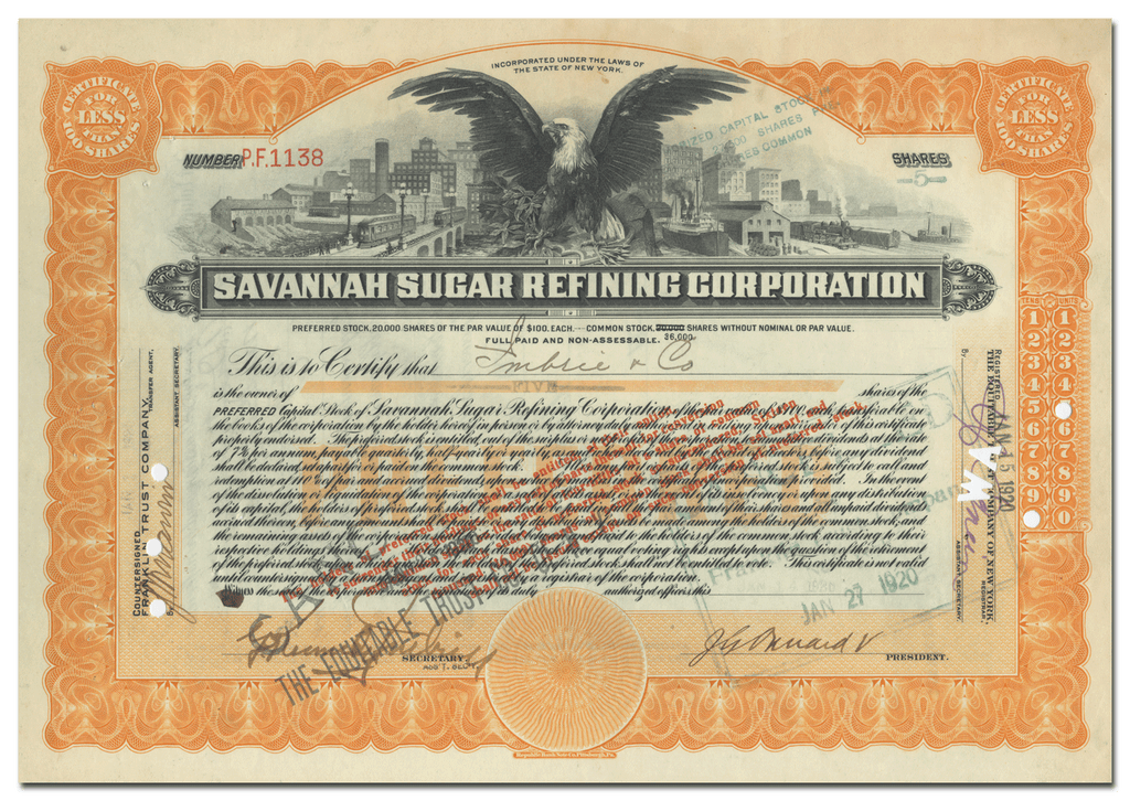Savannah Sugar Refining Corporation Stock Certificate