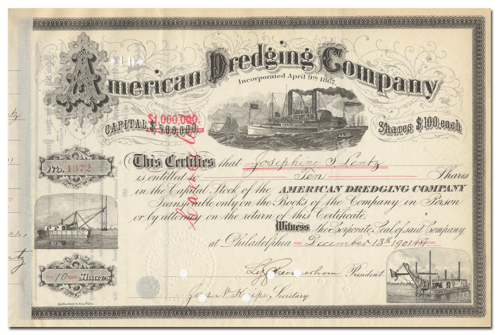 American Dredging Company Stock Certificate