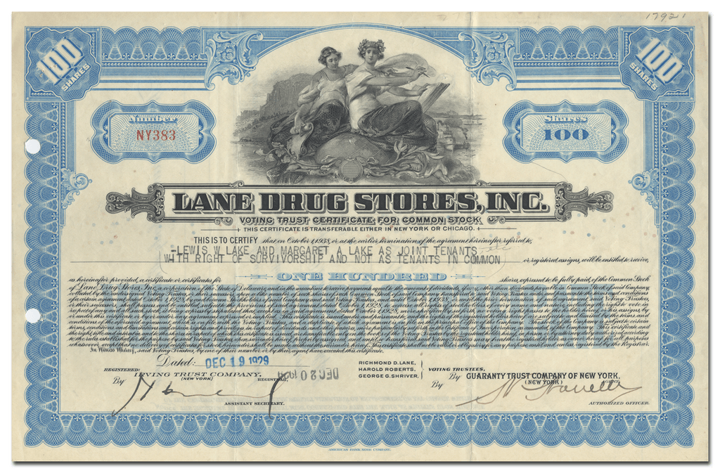 Lane Drug Stores, Inc. Stock Certificate