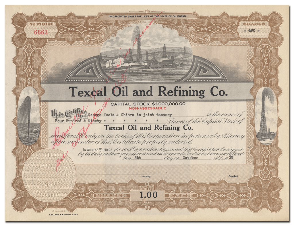 Texcal Oil and Refining Co. Stock Certificate