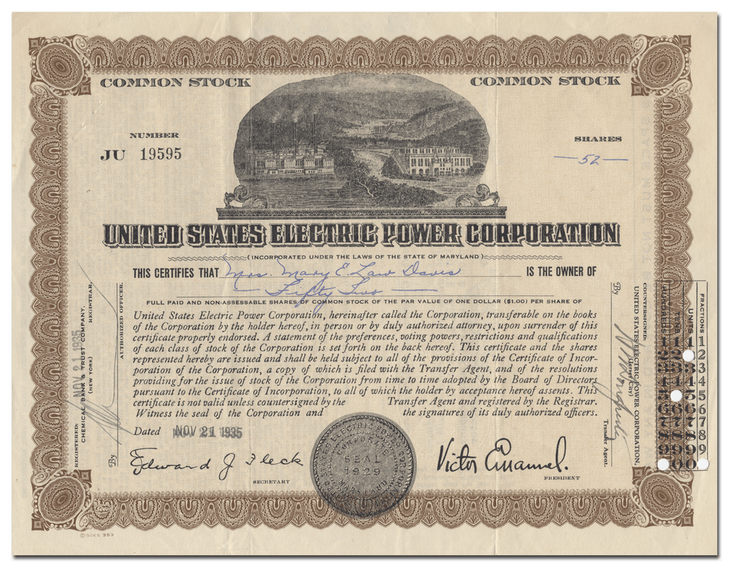 United States Electric Power Corporation Stock Certificate
