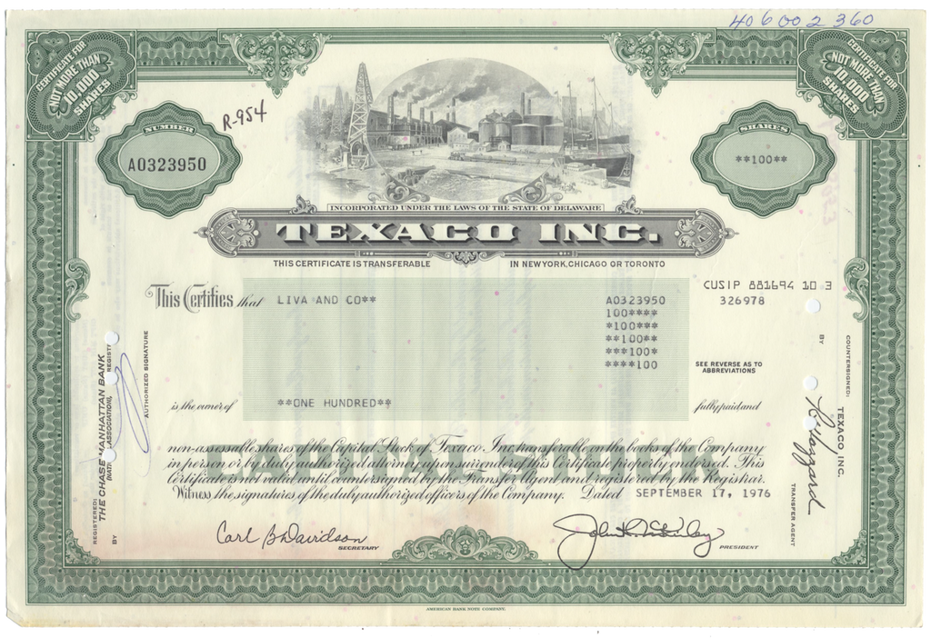 Texaco Inc. Stock Certificate