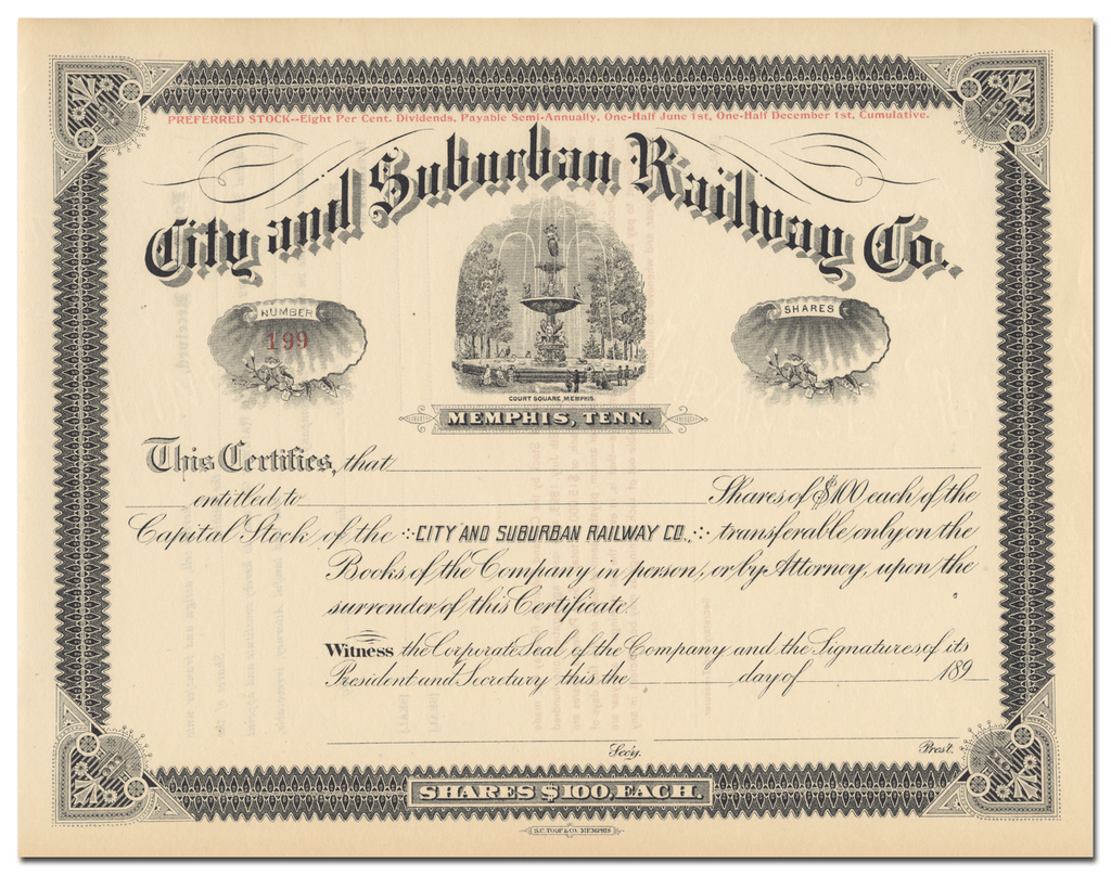 City and Suburban Railway Co. Stock Certificate