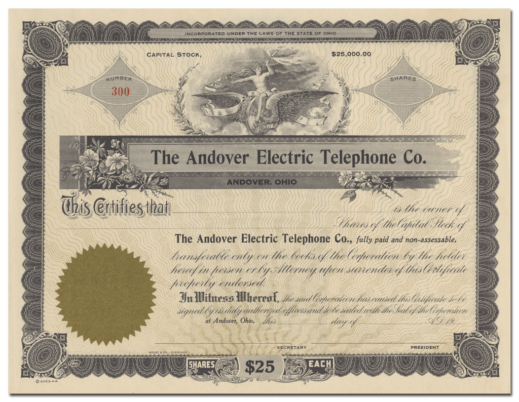 Andover Electric Telephone Co. Stock Certificate