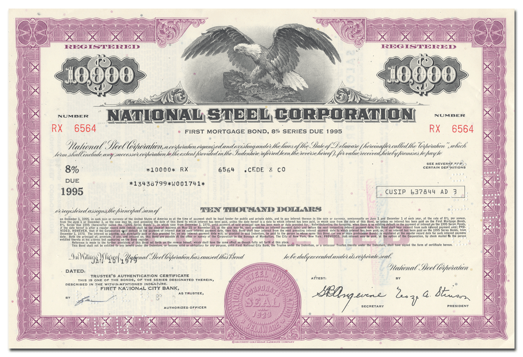 National Steel Corporation Bond Certificate