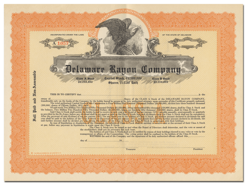 Delaware Rayon Company Stock Certificate