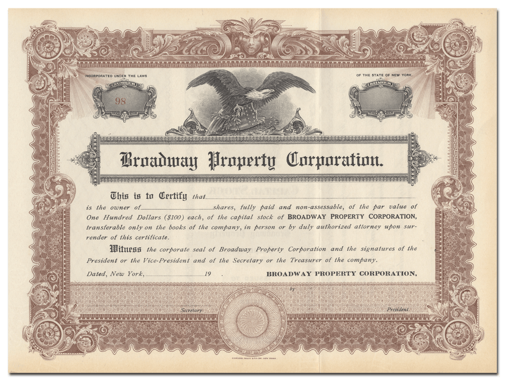 Broadway Property Corporation Stock Certificate