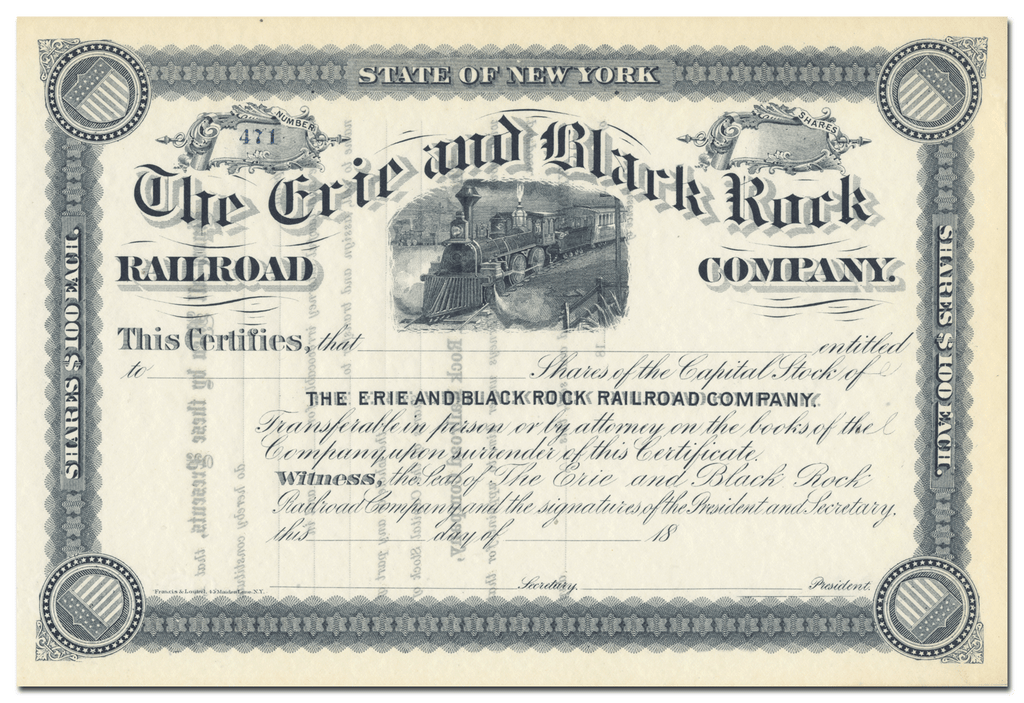 Erie and Black Rock Railroad Company Stock Certificate
