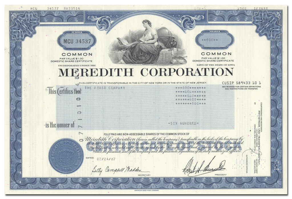 Meredith Corporation Stock Certificate