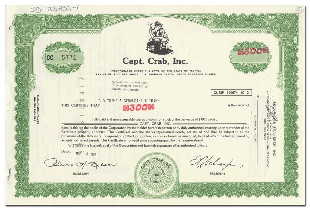 Capt. Crab, Inc. Stock Certificate