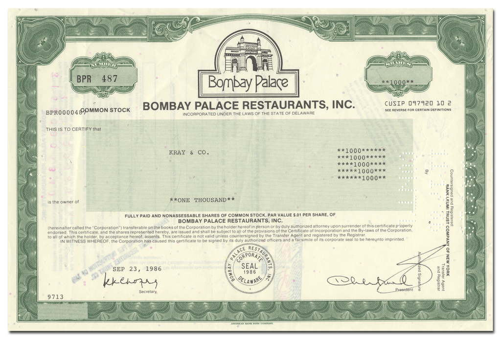 Bombay Palace Restaurants, Inc. Stock Certificate